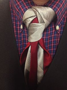 Another take on a look that layers the blade section of the tie.