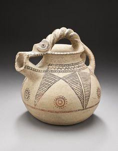 Western Iran  Spouted Jar with Painted Decoration, circa 1000-650 B.C.  Vessel; Ceramic, Buff ware, creamslip, reddish-orange painted decoration