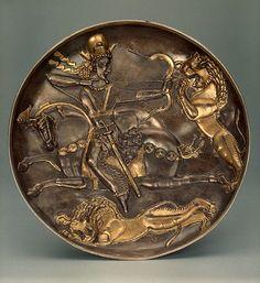 Shapur II on a lion hunt 310.