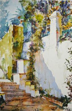 Geoffrey Wynne Acuarelas - Watercolours: JARDÍN DE GRANADA - GRENADE GARDEN