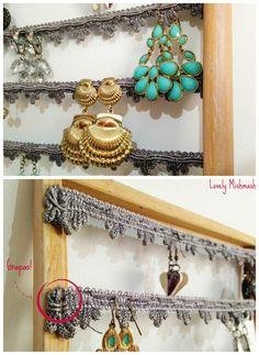 DIY earrings organizer. Colgador de pendientes.