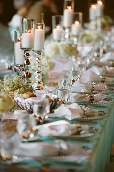 Tiffany inspired table with glass and white/cream accents to add even more elegance.  ***photo by - Christine Johnson