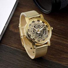 """Le mot de notre styliste: """"Cette montre sort des sentiers battus de l'accessoire classique et sans histoire. Elle laisse place à la créativité et la personnalité et convient de ce fait aux personnes qui aiment les looks décalés."""" Stylish Watches, Cool Watches, Watches For Men, Wrist Watches, Men's Watches, Ladies Watches, Luxury Watches, Skeleton Watches, Mesh Band"""