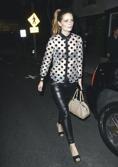 Mischa Barton. Hair up.dots. Leather.
