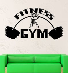 Wall Sticker Vinyl Decal Fitness Gym Sport Bodybuilding Barbell Muscled (ig2191) #wallstickers4you