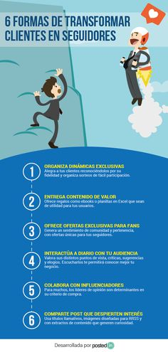 6 Formas de transformar clientes en seguidores #infografía #infographic #marketing