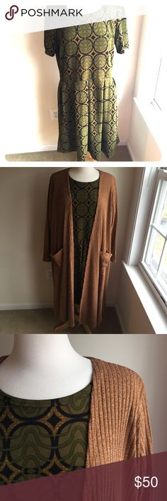 🆕Listing! LuLaRoe Amelia Olive green patterned Amelia dress. Only worn once and in like new condition! Paired with an orange/brown Sarah sweater that is also available in my closet! 🛍💰Make a bundle and I'll make an offer! 💰🛍  🚫TRADES LuLaRoe Dresses