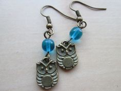Antique brass fish hook earrings with a tiny owl by johnnynjenny, $9.50