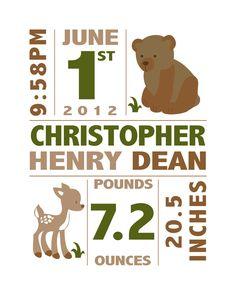 Forest Animals Birth Announcement