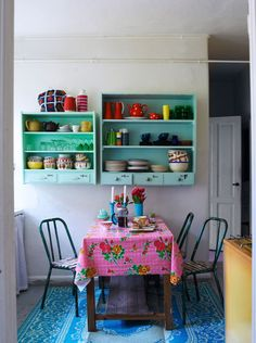 ⋴⍕ Boho Decor Bliss ⍕⋼ bright gypsy color & hippie bohemian mixed pattern home decorating ideas - pink blue aqua kitchen