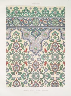 Prisse d'Avens, Islamic Art from the monuments of Cairo since the to the late century, France Via NYPL William Morris, Arabesque, Border Design, Pattern Design, Monuments, Art Arabe, Art Nouveau, Islamic Patterns, Elements And Principles