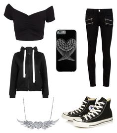 """""""Angel Wings"""" by davinaespinosa ❤ liked on Polyvore featuring NLY Trend, Paige Denim and Converse"""