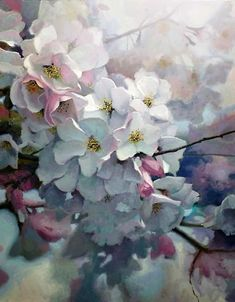 Cherry Light - a delicate oil painting by German born US artist Michael Godfrey. Oil Painting Flowers, Watercolour Painting, Watercolor Flowers, Watercolors, Gauche Painting, Art Floral, Watercolor Landscape, Botanical Art, Flower Art