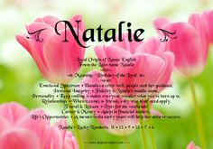 """Natalie - name meaning & more - a fun gift pin from my """"Pindred"""" spirit, Ashaley Lenora All Girl Names, Baby Names, My Daughter Quotes, To My Daughter, Hebrew Names, Natalie Marie, Name Games, Monogram Wall, Names With Meaning"""