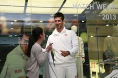 Novak Djokovic modelling the UNIQLO collection at the 311 Oxford street store in London (18.06.13)