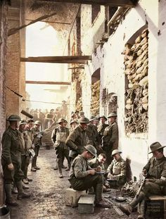 Australian troops amidst the devastation of war in Ypres after the Battle of Passchendaele (sometimes referred to as the Third Battle of Ypres), 1917 World War One, First World, Commonwealth, Ww1 Photos, Photographs, Flanders Field, War Photography, To Infinity And Beyond, Military History