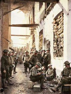 Australian soldiers in Ypres, Belgium in 1917