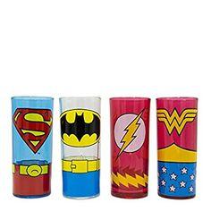 Amazon.com: Silver Buffalo DC031T0 DC Comics Superhero Uniforms Glass Tumbler Set, 4-Pack: Kitchen & Dining