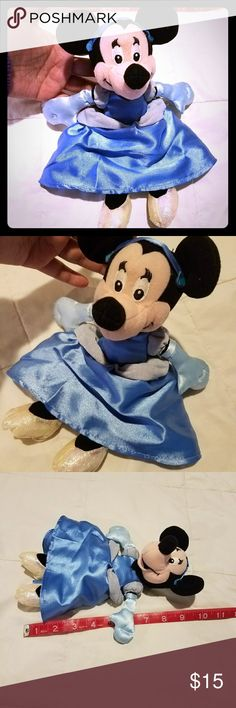 Cinderella Minnie Mouse Disney's famous Minnie Mouse is all dressed up and ready for the ball. She has the cutest shimmery slippers, aka glass Minnie in this Cinderella costume is perfect. Long satin baby blue gloves.  10 inches laying flat. All prices negotiable please make an offer. Disney Accessories