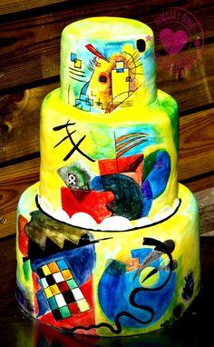 Kandinsky wedding cake hand painted
