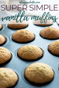 Easy Vanilla Muffins - Perfect For Cupcakes! The best Vanilla Muffins are moist, delicious & super easy to make from scratch. With ingredients y Vanilla Muffin Recipes Easy, Easy Vanilla Cake Recipe, Simple Muffin Recipe, Easy Cupcake Recipes, Baking Recipes, Yummy Recipes, Recipies, Dinner Recipes, Dessert Recipes