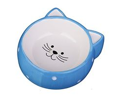 MushroomCat Ceramic cat bowl pet cat ears Blue