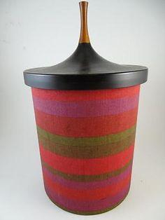 Vintage Ice Bucket Mid Century Modern Teak Wood Plastic 1960s Retro Denmark Old
