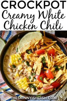 This easy Crockpot Creamy White Chicken Chili is the best recipe to assemble in the morning for a delicious dinner by night I ve put my lightened up spin on this tasty recipe for a more healthy option for dinner tonight whitechickenchili chickenchili ww Creamy White Chicken Chili, Crockpot White Chicken Chili, Best White Chicken Chili Recipe, Healthy Crockpot Recipes, Soup Recipes, Dinner Recipes, Ww Recipes, Cooking Recipes, Cooking Ideas
