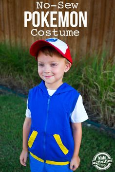 The only thing better than playing Pokemon Go as a family is going hunting dressed in a no-sew Pokemon Ash Ketchum costume. Pokemon Costumes For Boys, Pikachu Costume Kids, Tween Costumes, Mom Costumes, Costume Ideas, Ash Catchem Costume, Ash Costume Pokemon, Ash Pokemon, Children Costumes