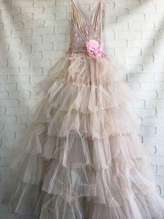 Vestido de novia tul rosa Malva polvorienta boho por miss