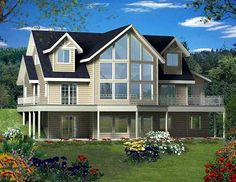 Dramatic Two-Story Windows - 35484GH | Mountain, Northwest, Vacation, Metric, 1st Floor Master Suite, CAD Available, Drive Under Garage, Loft, PDF, Wrap Around Porch, Corner Lot, Sloping Lot | Architectural Designs   2433 Sq ft