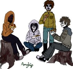 Welp here is the proxy squad eating some pepperoni pizza together. We have Hoodie, Kate the Chaser, Masky, and Toby. I DO NOT OWN ANY OF THIS AMAZING PROXIES THEY BELONG TO:Masky and Hoody- M...