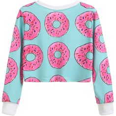 SheIn(sheinside) Contrast Trim Donuts Print Crop Sweatshirt ($15) ❤ liked on Polyvore featuring tops, hoodies, sweatshirts, cut-out crop tops, polyester sweatshirt, cropped sweatshirt, long sleeve sweatshirt and blue pullover