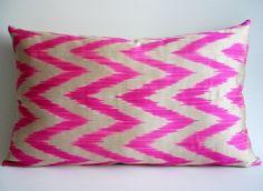 Sukan / Hand Woven Original Silk Zigzag ikat Pillow Cover - Pink, Ivory Color. $49.95, via Etsy.
