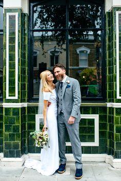 Off the shoulder wedding dress. Modern, simple and minimalist wedding dress by Charlotte Simpson