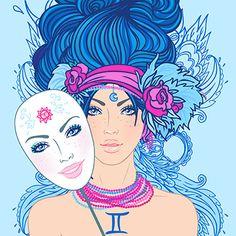Zodiac Girl's faces by Varvara Gorbash, via Behance Gemini