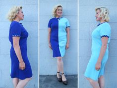 Vintage 1960s Mod Purple & Blue Color Block Sweater Dress // 60s Bold Two Tone Cut Out Shift | size M L | by Birthday Life Vintage on Etsy | $42.00
