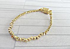 Gold bead bracelet Tiny bead bracelet Gold skinny by AllthingsBAB