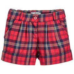 Dr. Kid Girls Red Tartan Shorts at Childrensalon.com Dr Kids, Kids Girls, Heart Sweater, Roll Neck, Fall Wardrobe, Patterned Shorts, Tartan, Nice Dresses, Tights