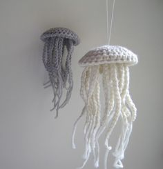 Moon Jellyfish: Crocheted from merino wool. Will have to design my own pattern, but will make for baby's room.