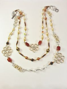 Necklace Gold Silver Flowers Pearls Swarovski Crystal Agate Gifts For Her 403 - pinned by pin4etsy.com