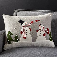 Shop Snowman and Friends Pillow. Joan Anderson's delightful snowman is joined by friends in a winter wonderland, appliquéd and embroidered on this festive felt pillow. Made by skilled artisans in India, the pillow reverses to solid grey felt. Christmas Cushions, Christmas Pillow, Felt Christmas, Christmas Stockings, Christmas Ornaments, Christmas Applique, Christmas Sewing, Christmas Projects, Christmas Patchwork