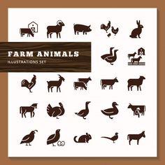 Siluetas de animales de granja | Premium Vector #Freepik #vector #diseno #mano #animal #granja Vector Freepik, Farm Animals, Decor, Scrappy Quilts, Chicken Logo, Mascot Design, Icon Set, Flat Design, Adorable Animals