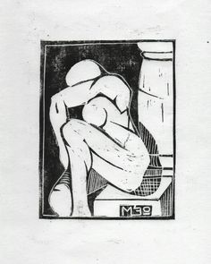 """Mi piace"": 43, commenti: 1 - Marcello (@meo_graf) su Instagram: ""The Weeping Nude #linoprint on #washi paper  #linocut #linoleumprint #linoleum #nude"""