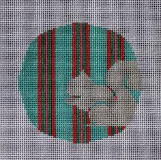 Little Bird Designs RO-003 Teal and Pink Squirrel #modernneedlepoint