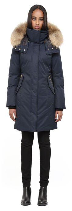 Mackage - KERRY LONG NAVY FITTED WINTER DOWN PARKA FOR WOMEN WITH FUR HOOD
