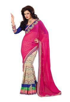 #Designer Pink & Cream #Sari #USA  Check out this page now :-http://www.ethnicwholesaler.com/sarees-saris