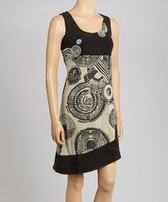Black Geometric Sleeveless Dress #zulily #zulilyfinds