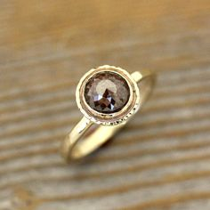 Cognac Brown Rose Cut Diamond in Hammered 14k Gold Halo, Made to Order