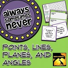 Points, Lines, Planes, and Angles: Always,. by Math Giraffe Geometry Vocabulary, Teaching Geometry, Teaching Math, Geometry Lessons, Teaching Ideas, Math Resources, Math Activities, Geometry Activities, Geometry Worksheets